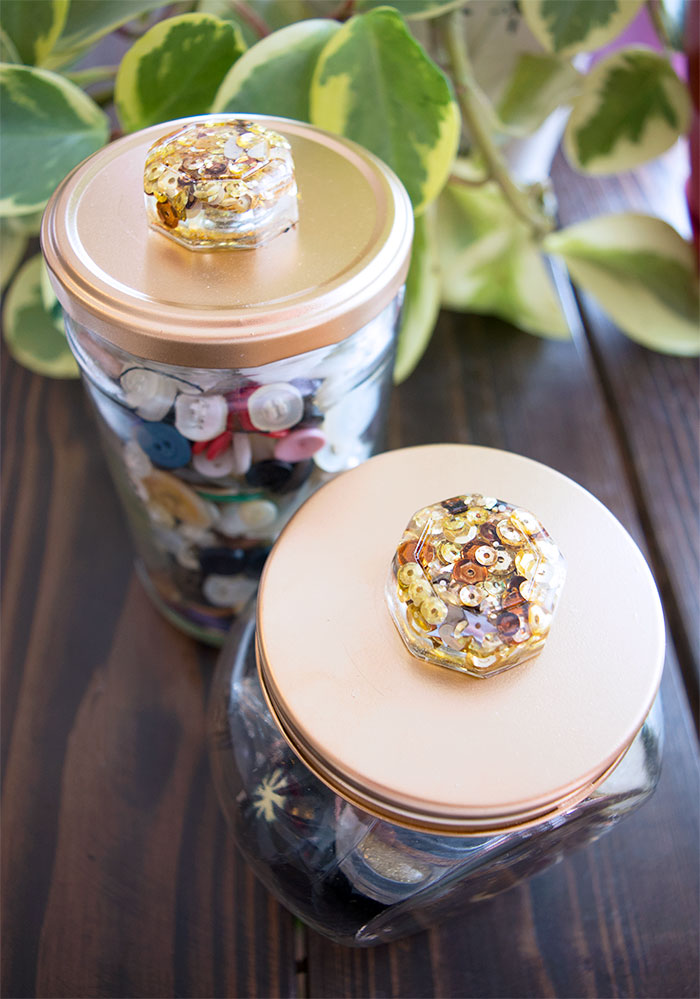 Sequin Resin Knobs on Repurposed Jars for Vintage Buttons