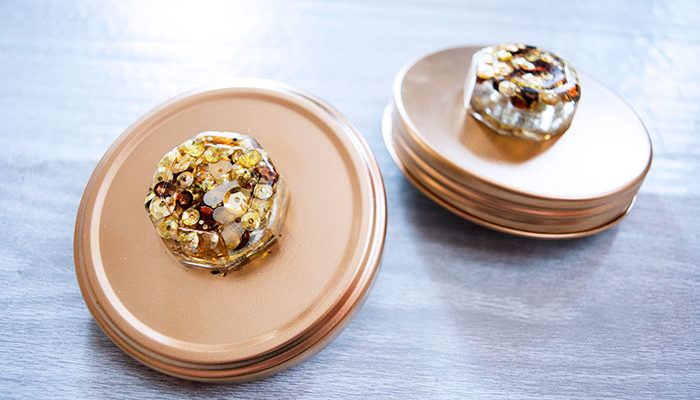 Sequin Knobs for Re-purposed Jar Lids