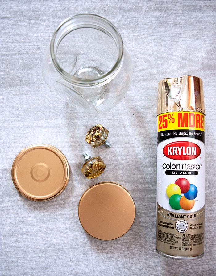Spray paint the Jar Lids