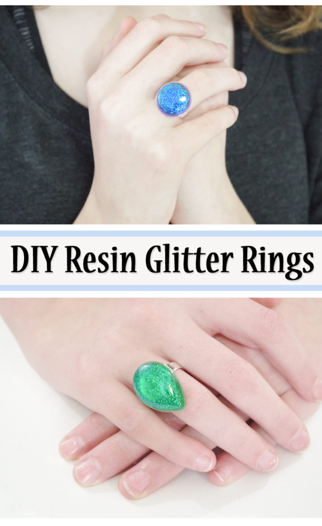 DIY resin glitter rings pinterest image