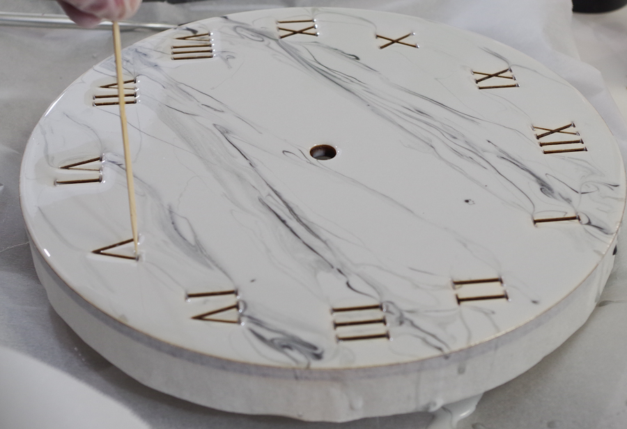 Wood and Resin Clock- use a toothpick to be sure the roman numerals are clear