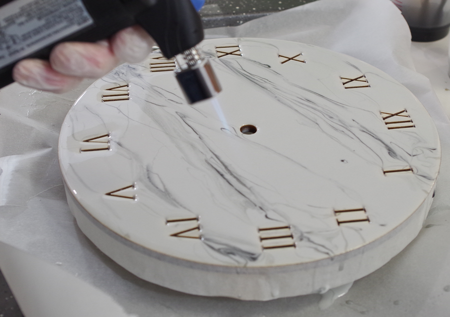 Wood and Resin Clock- use micro butane torch to pop bubbles