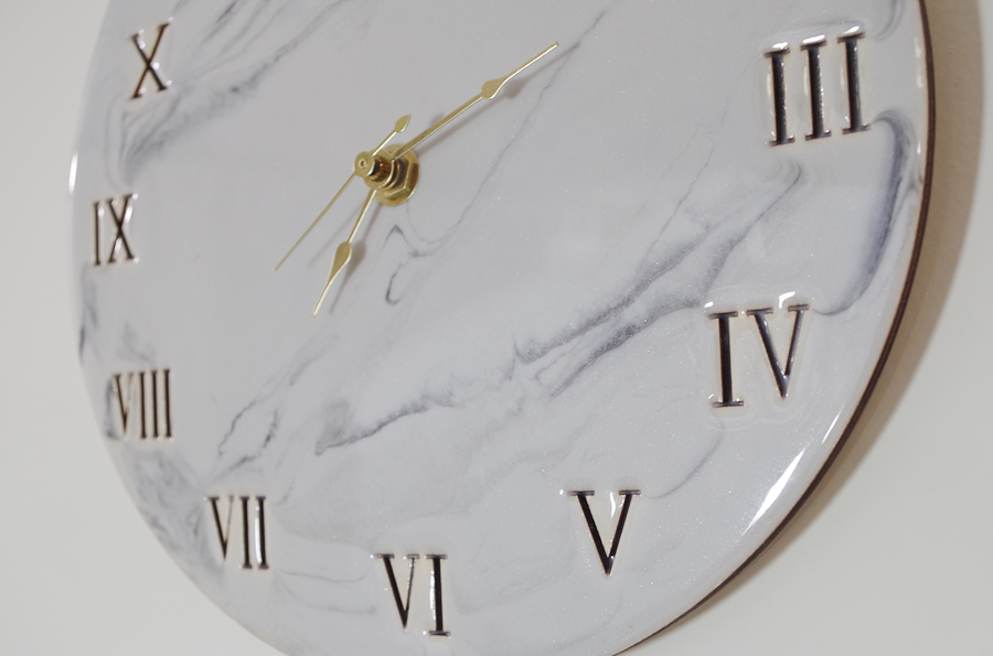 Wood and Resin Clock- hang your clock and admire the beautiful light gray faux marble close up