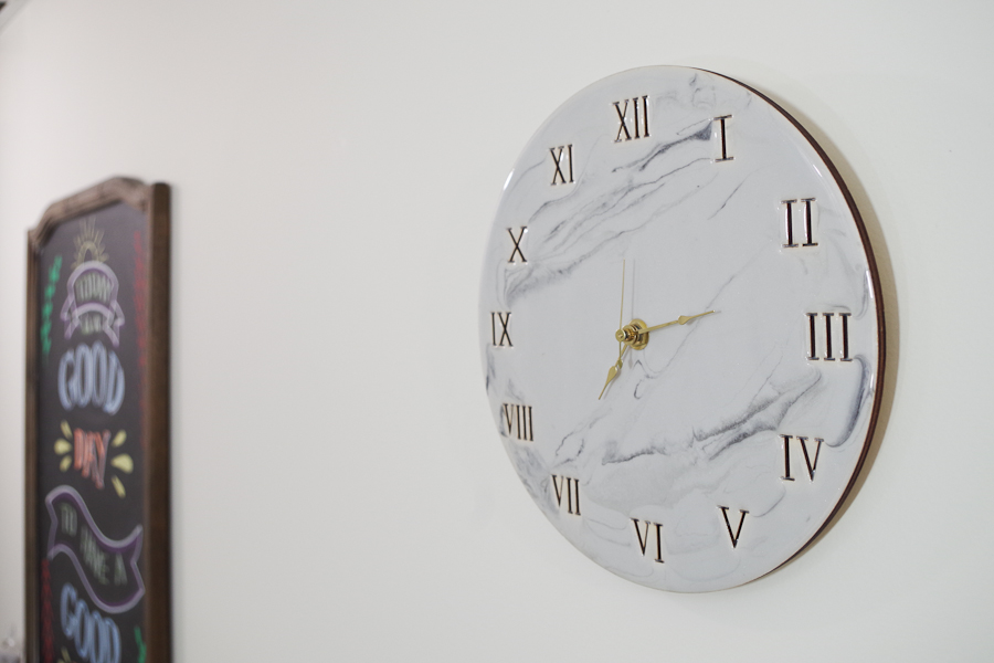 Wood and Resin Clock- hang your clock and admire the beautiful light gray faux marble