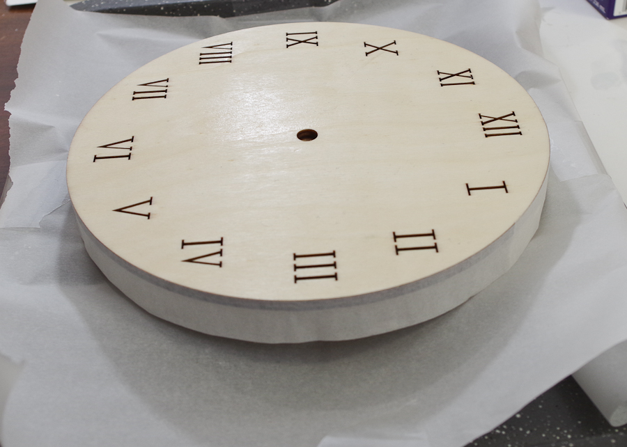 Wood and Resin Clock - set up disposable cup to raise the clock face above the work surface