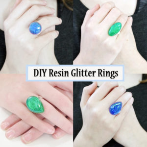 diy resin glitter rings featured image