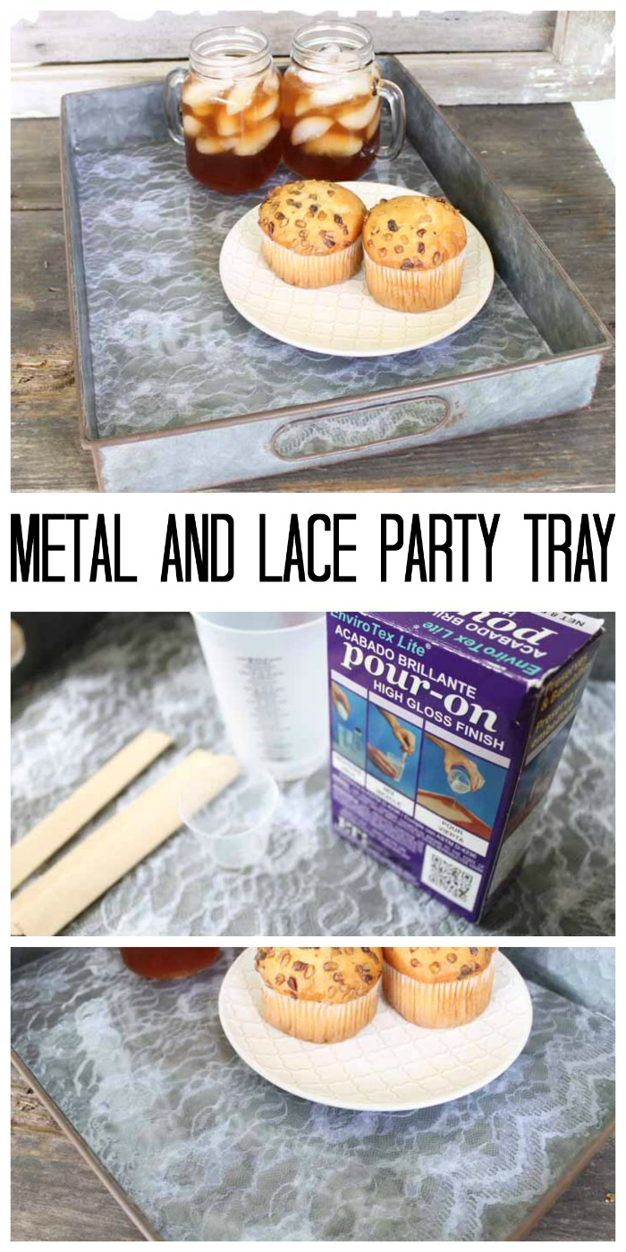Make this metal and lace party tray! Gorgeous shabby chic look!