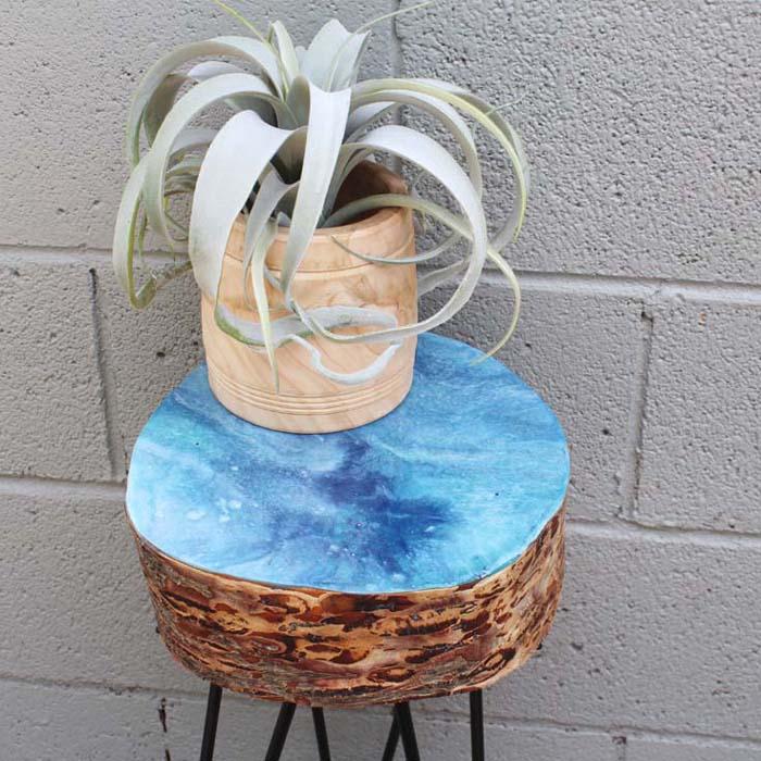 Resin Dirty Pour Log Slice Hairpin Leg Table Diy For Beach