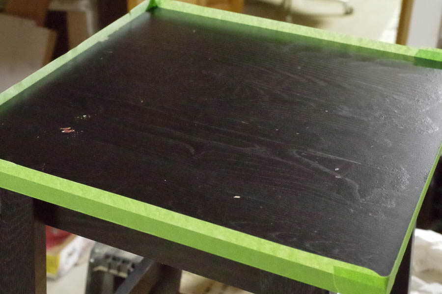 Poured Resin Side Table - Tape up the edges