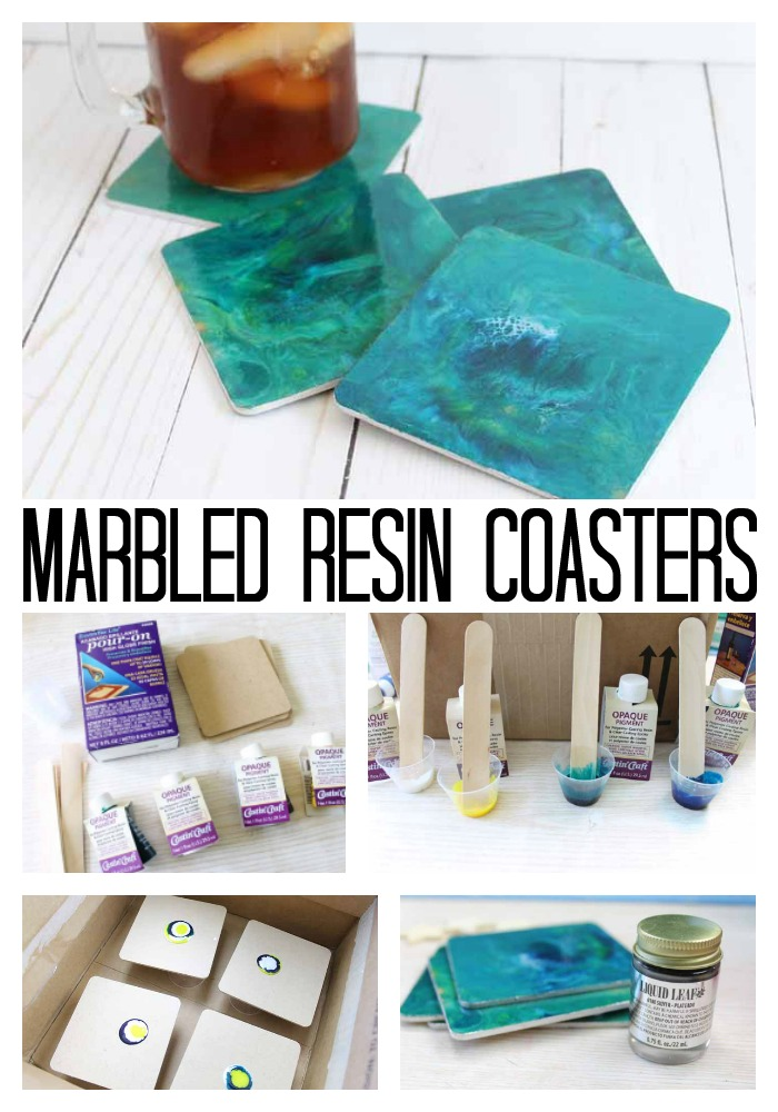 Resin poured marble coasters are the perfect addition to your home! Here we have used sea themed colors but you can mix and match any colors that work with your home decor for this easy resin pour project!
