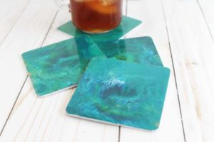 Poured Resin Marble Coasters