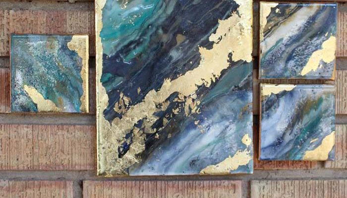 Poured Resin Gold Leaf Canvas Gallery Art!