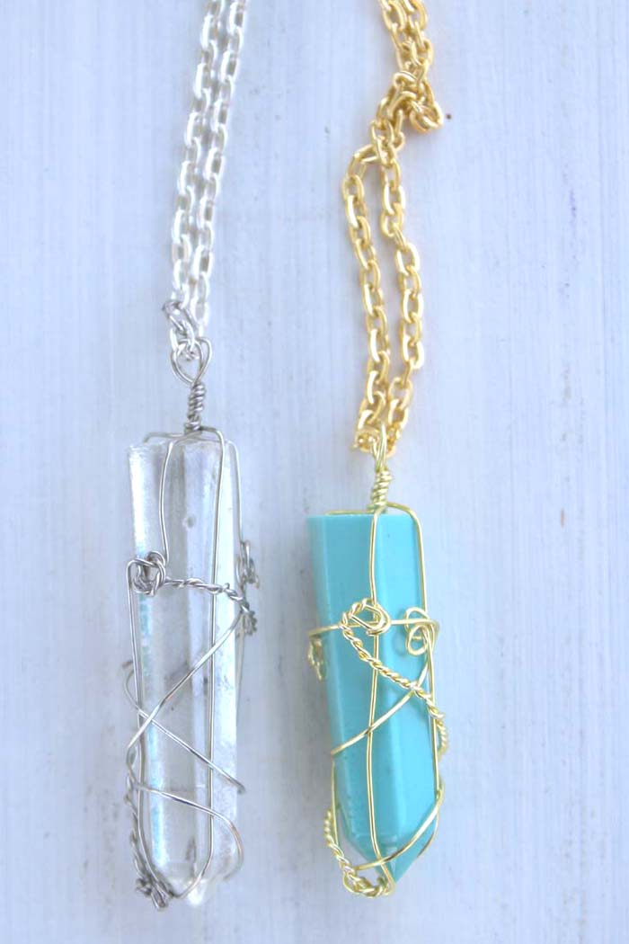 Resin Faux Crystal Wire Wrapped Pendant Necklace Diy