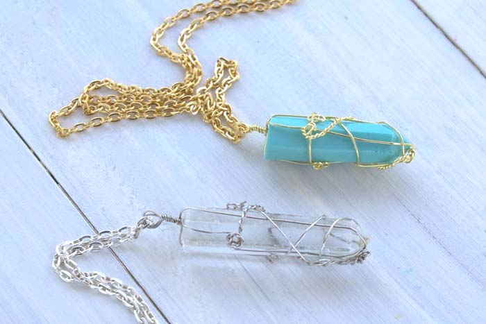 Resin faux crystal wire wrapped pendant necklace diy resin crafts to make them myself when i was littleyou just need sediment and pressure rightlike a couple books haha happy to report that ive figured out a much aloadofball Image collections