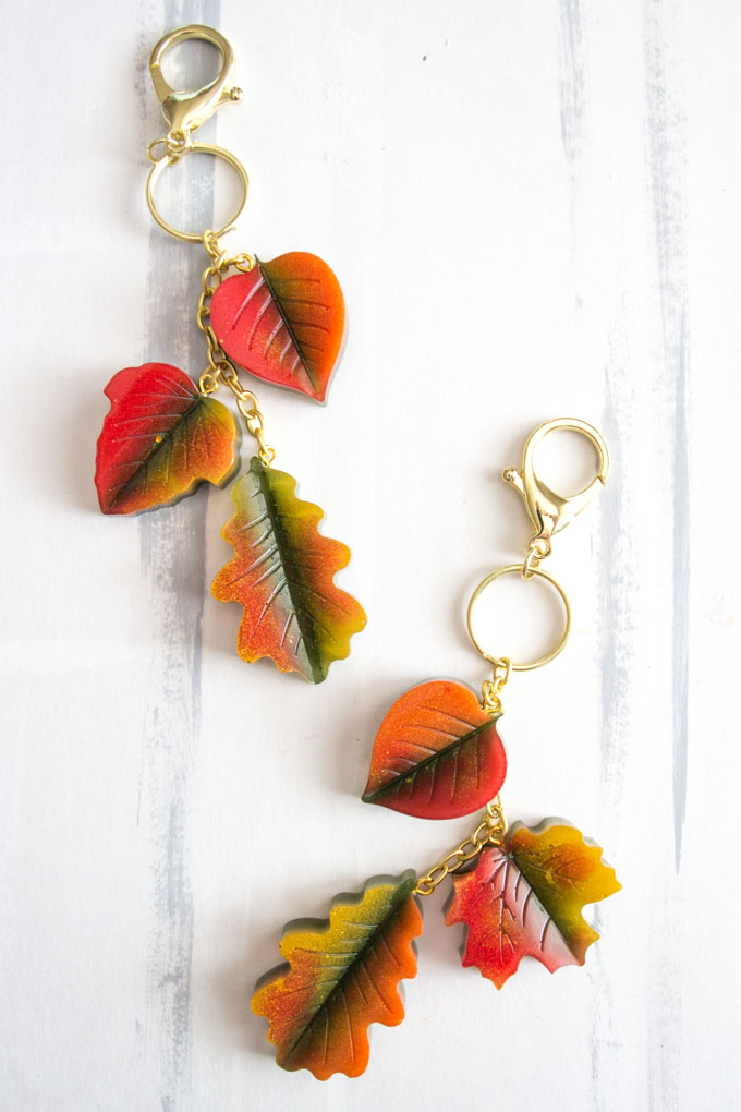 Fall themed leaf purse charms on gold hardware