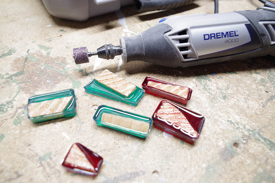 DIY Wood and Resin Necklaces - use Dremel to sand and shape each pendant