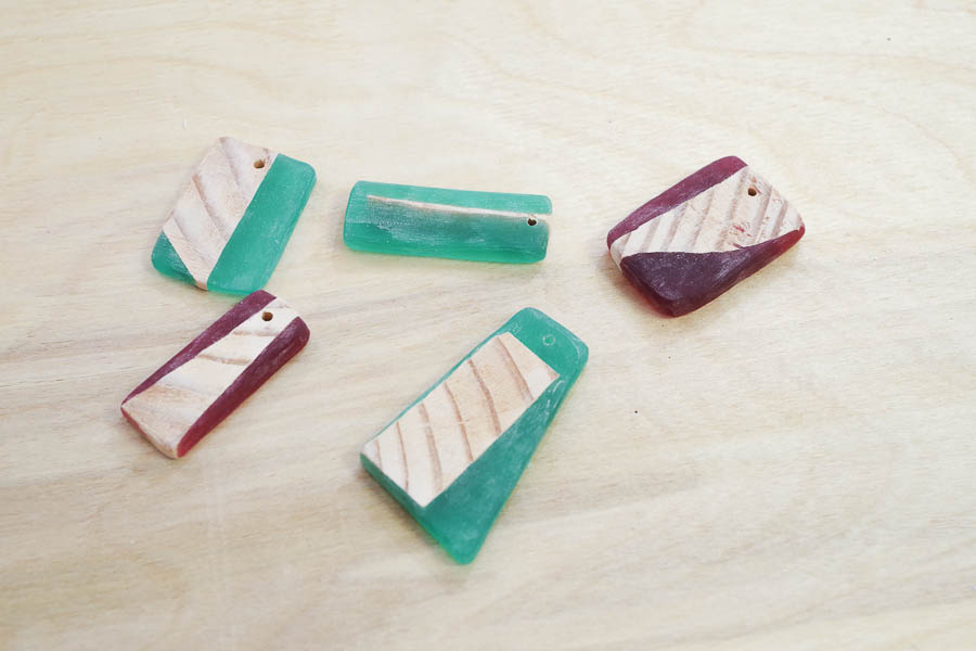 DIY Wood and Resin Necklaces - holes drilled for jump ring