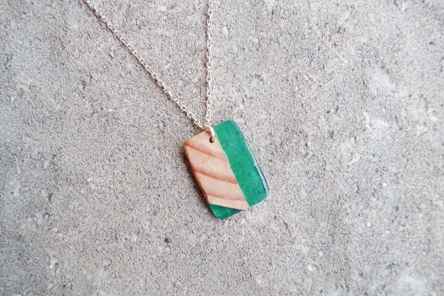 Wood and Resin Necklace - green final