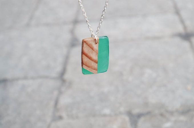 wood and resin necklaces green final hanging photo