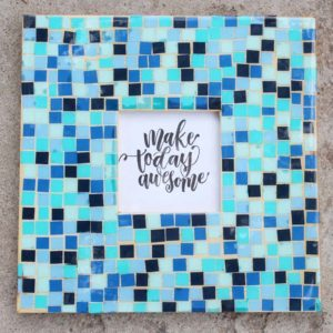 Paper Mosaic Tile High Gloss Resin Wood Frame DIY