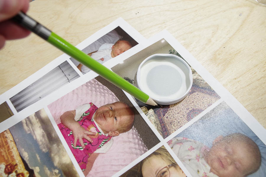 DIY Photo Magnets using resin in milk bottle lids - trace around lid on photo