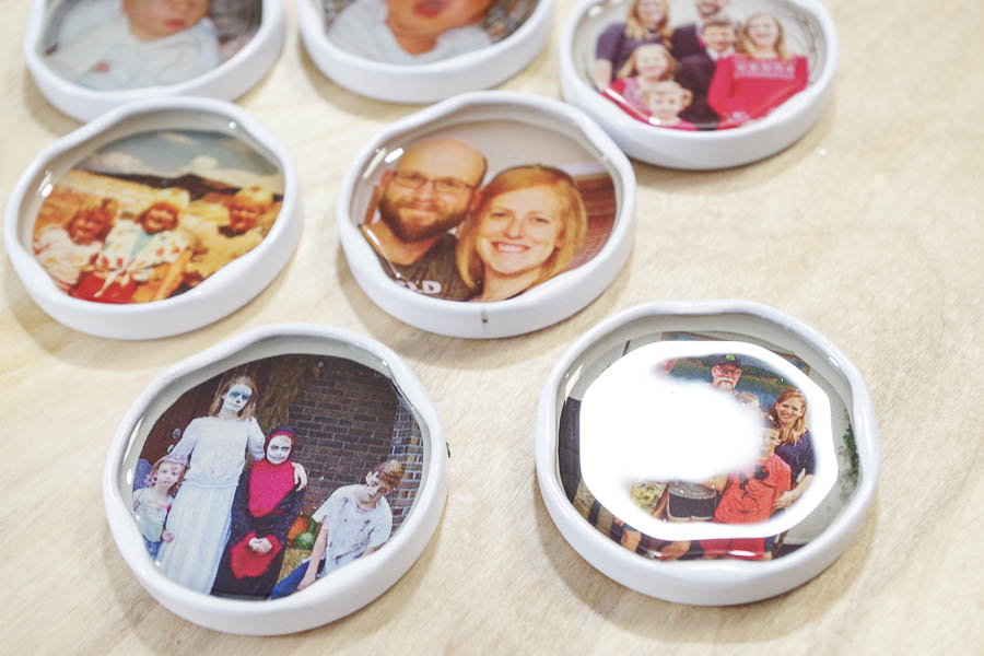 DIY Photo Magnets using resin in milk bottle lids - let cure for 24 hours