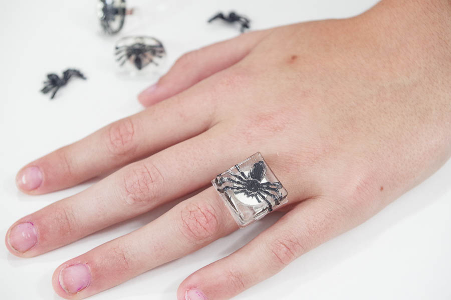 DIY Spider Resin Rings - finished square on hand
