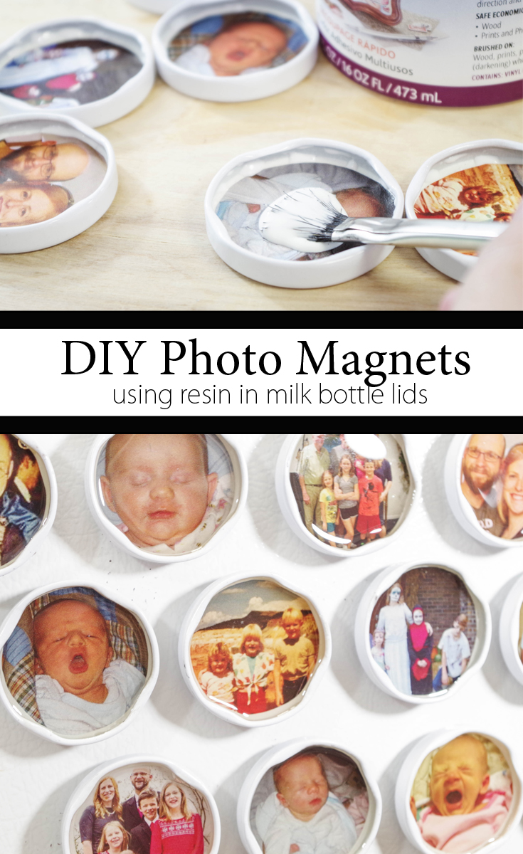 diy photo magnets using resin in milk bottle lids pinterest image