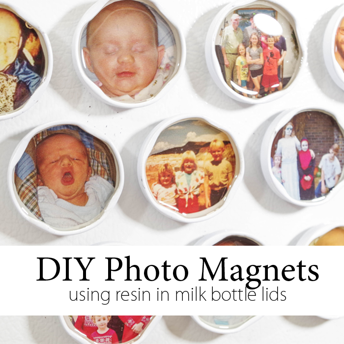 diy photo magnets using resin in milk bottle lids
