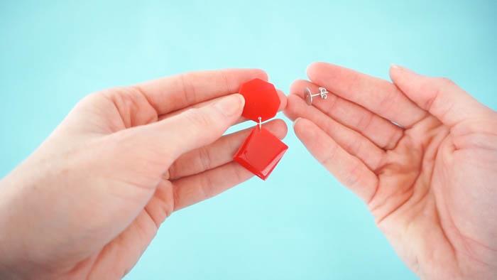 DIY resin statement earrings - attaching backs