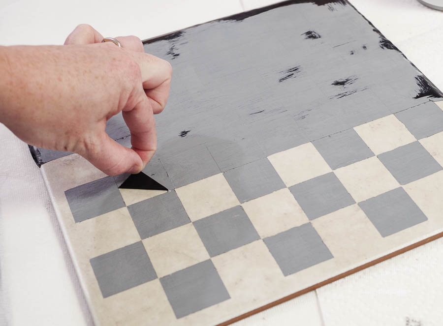 Upcycle Tile to Resin Coated Chess Board - peel off stencil