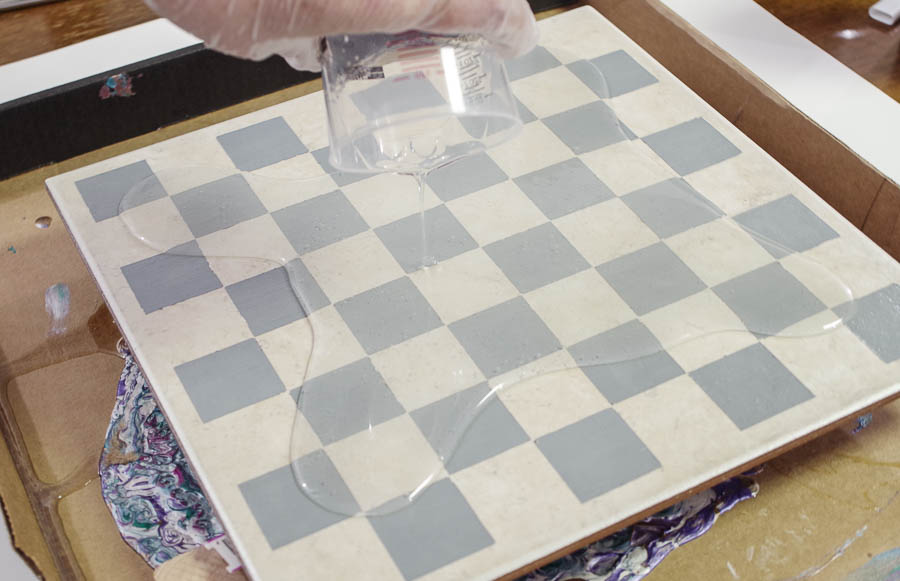 Upcycle Tile to Resin Coated Chess Board - Pour onto Painted Tile making sure to hit the corners