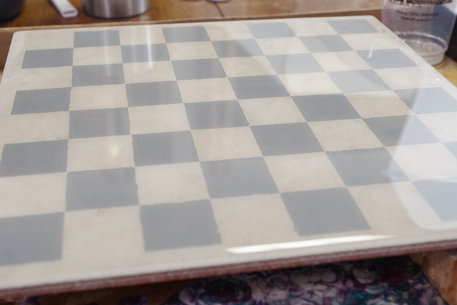 Upcycle Tile to Resin Coated Chess Board - let cure 24 hours