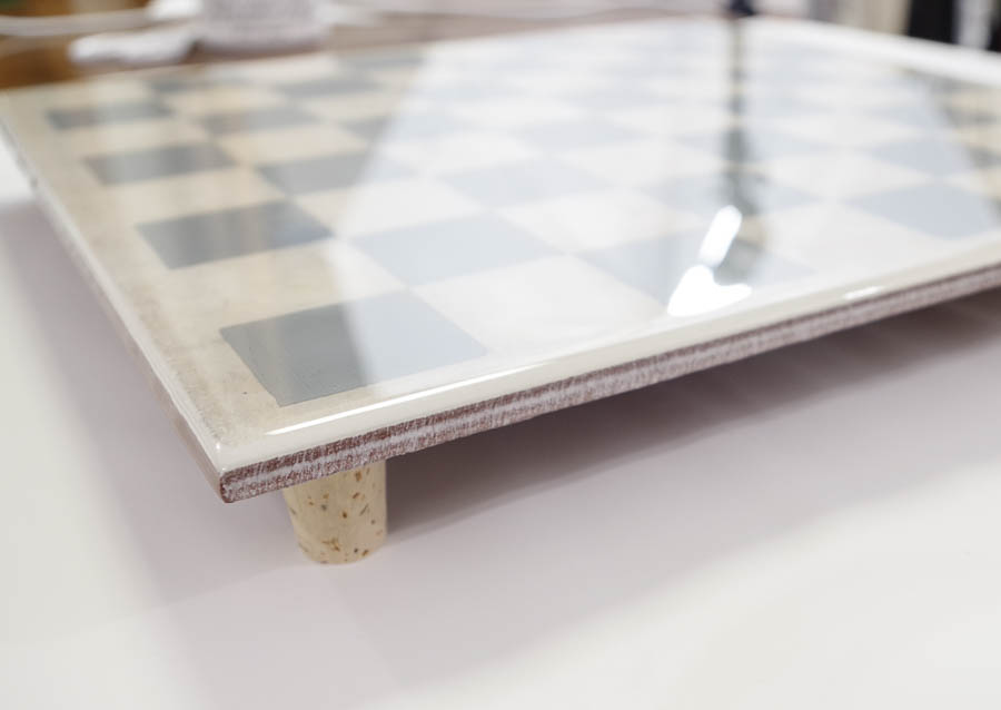 Upcycle Tile to Resin Coated Chess Board - let super glue dry