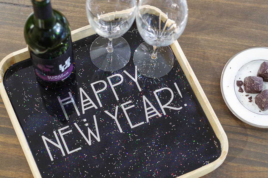 Happy New Year Glitter Resin Tray- final photo above