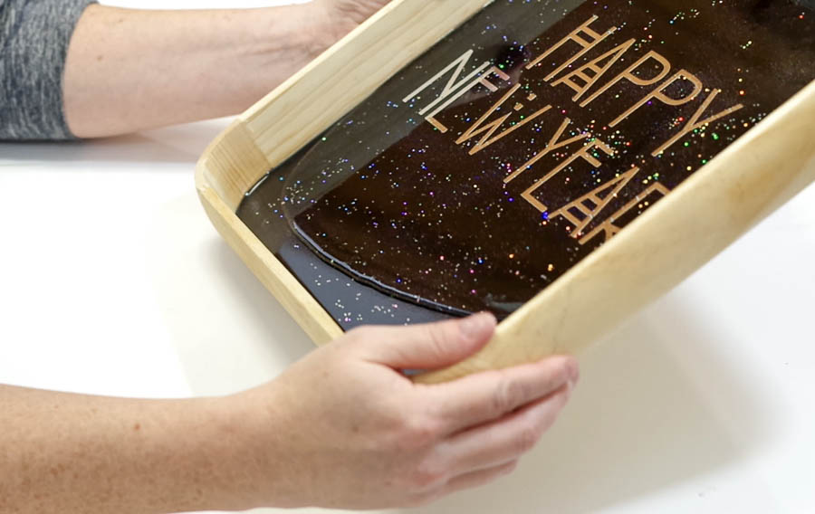 Happy New Year Glitter Resin Tray- spread the clear resin
