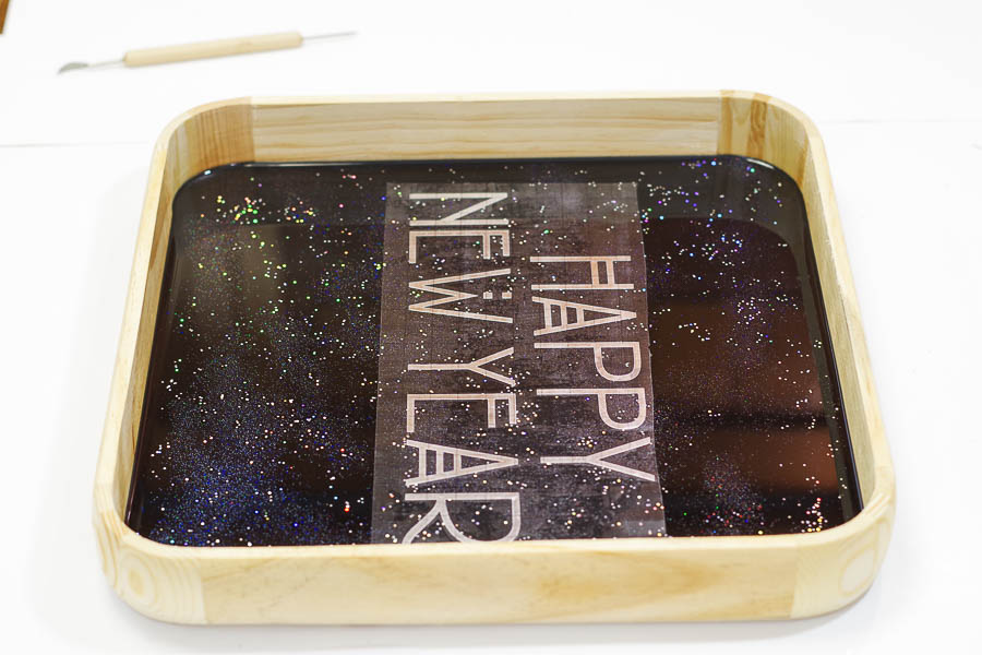 Happy New Year Glitter Resin Tray- apply Happy New Year Sticker
