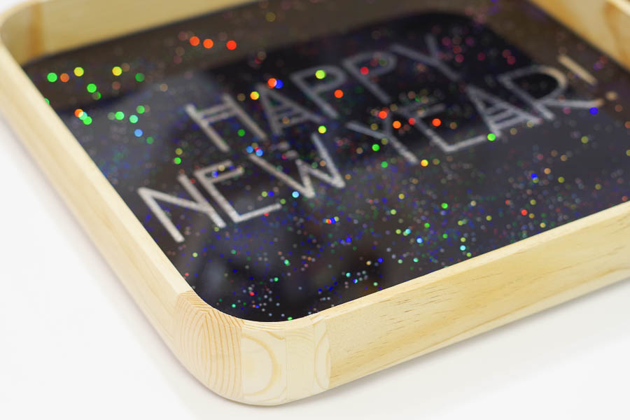 Happy New Year Glitter Resin Tray- let cure 24 hours