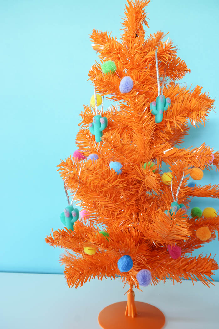 colorful Christmas tree with resin cactus ornaments