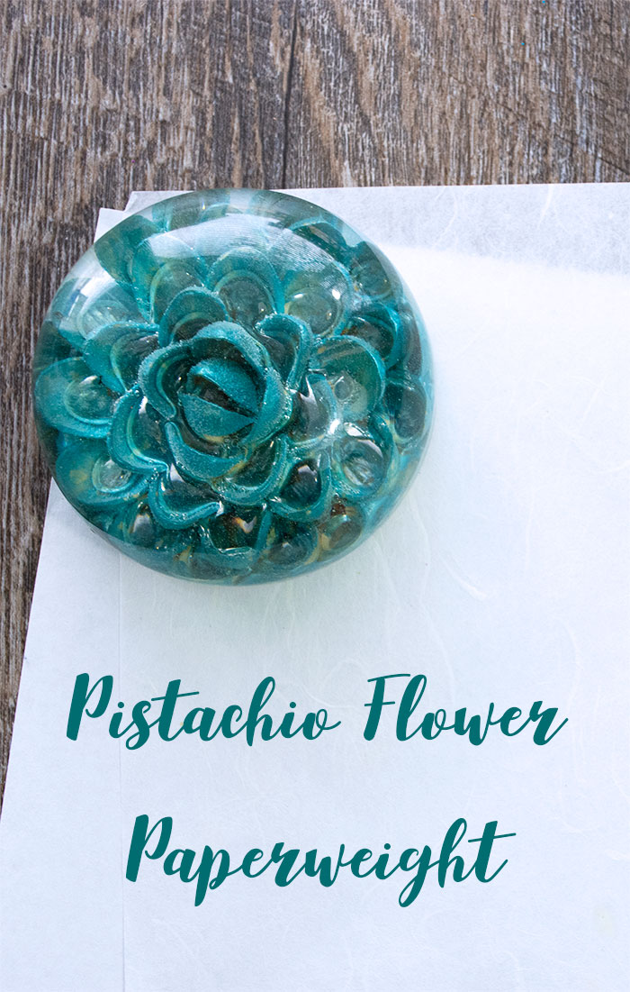 Learn how to use EasyCast Clear Casting Epoxy and Recycled Pistachio Shells to make a beautiful Pistachio Shell Flower Paperweight.