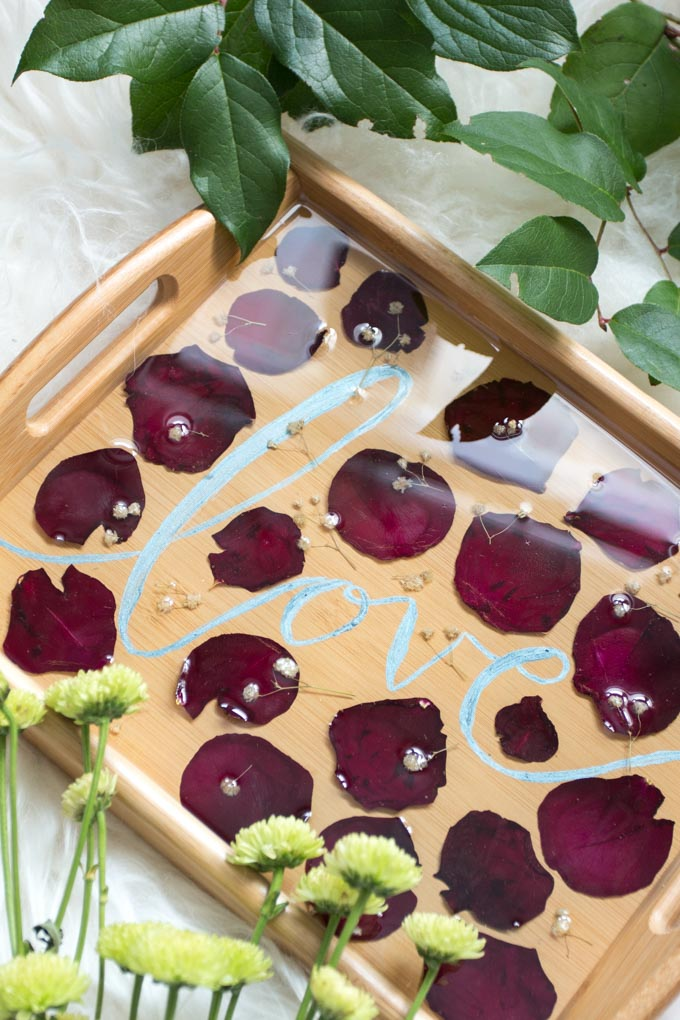 Up close view of the pressed petals serving tray