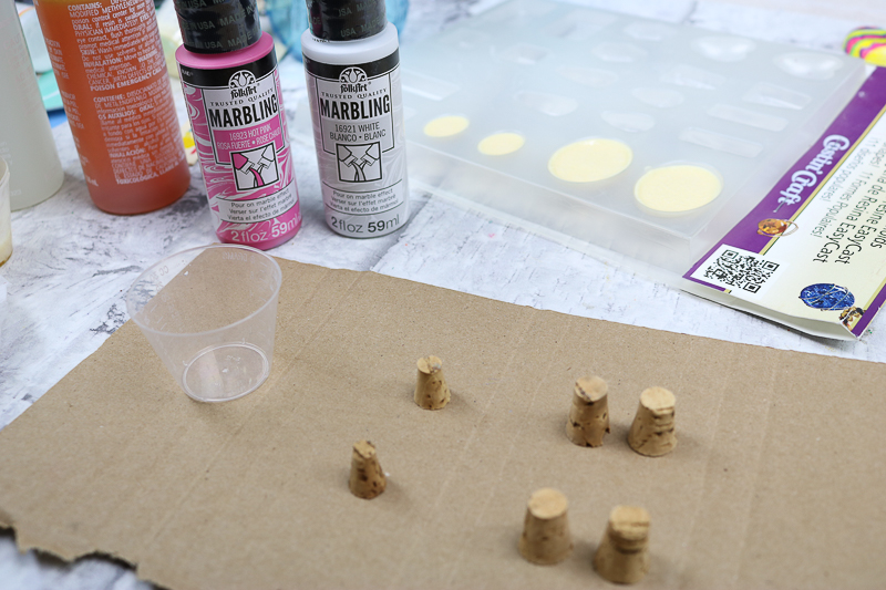Using marbling paint for Easter crafts.