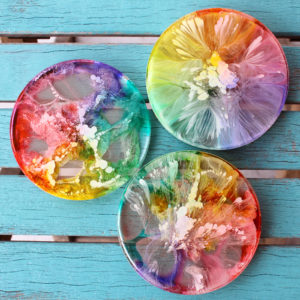 Petrified Rainbow Resin Coasters with Alcohol Ink DIY