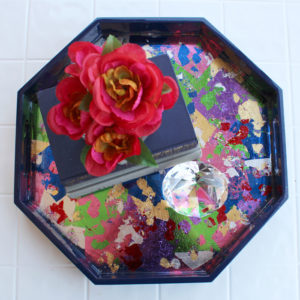 Metallic Leaf Serving Tray with High Gloss Resin