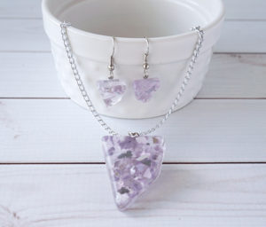 Crushed Glass Resin Jewelry Set