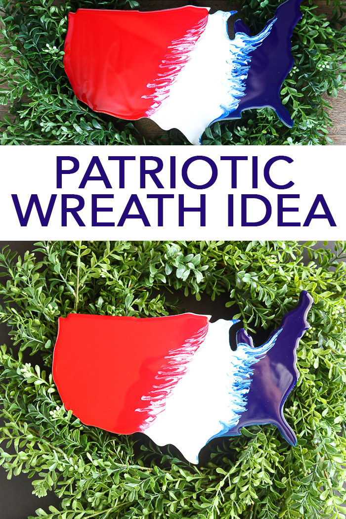 Add this patriotic wreath idea to your front door this summer! A gorgeous wreath with a resin poured cutout of the United States! #patriotic #farmhouse #farmhousestyle