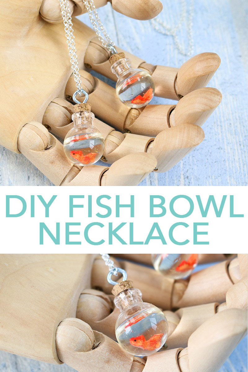 Learn how to make a fish bowl necklace! Add a cute gold fish in a bowl hanging around your neck for a touch of whimsey! #necklace #fish #resin #resincrafts