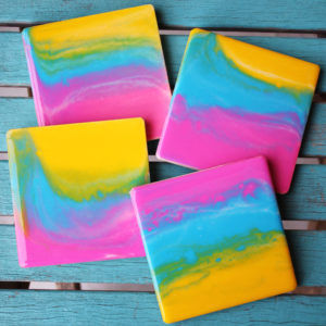 Sunset Rainbow Poured Resin Coasters DIY