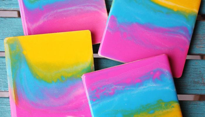 Sunset Rainbow Poured Resin Coasters DIY