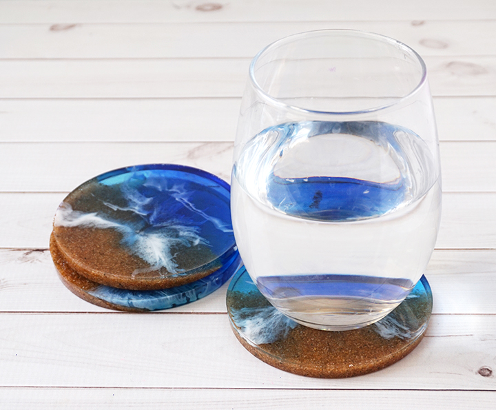 DIY Resin Beach Coasters with Glass